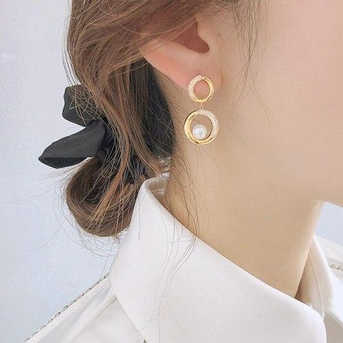 European and American Sterling Silver Needle Stud Earrings All-Match Vintage Earrings Geometric Pearl round Ring Earrings