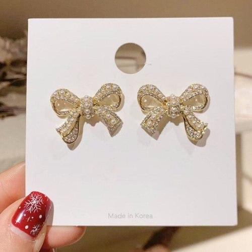 Korean Sweet Elegance High-Grade Bow Pearl Stud Earrings Internet Hot New Trendy Sterling Silver Needle Earrings