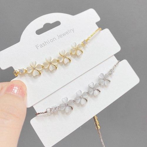 Korean Fashion Lucky Four-Leaf Clover Opal Pull Bracelet Women's Adjustable Gold Plated Bracelet
