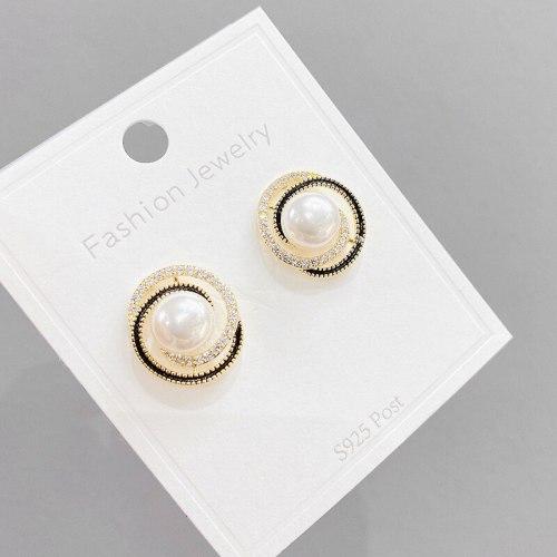 Sterling Silver Needle Micro Inlaid Zircon Pearl Stud Earrings for Women Fashion Circle Earrings Eardrop Earring