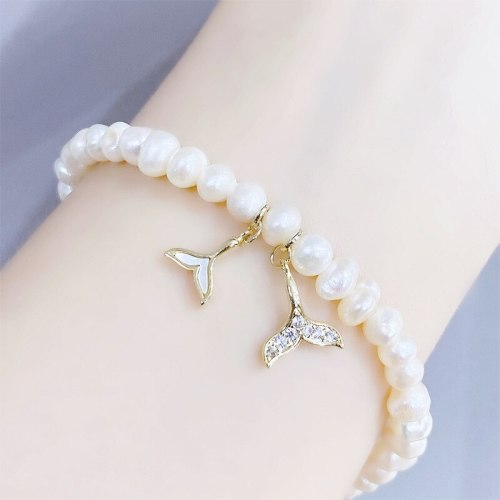 Fishtail Bracelet Baroque Freshwater Pearl Bracelet Carrying Strap Gold-Plated Micro-Inlaid Bracelet Jewelry