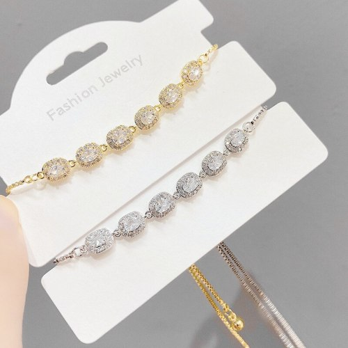 Hot Sale Micro Inlaid Zircon Pull Bracelet Female Korean-Style Chic and Unique All-Match Adjustable Hand Jewelry