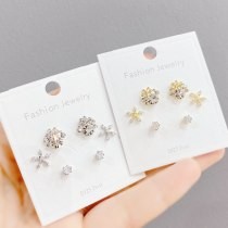 Sterling Silver Needle Micro Inlaid Zircon Petal Stud Earrings Small Personality One Card Three Pairs Combination Earrings