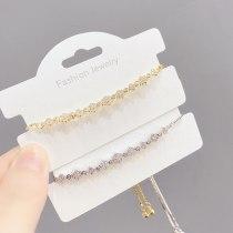 Korean-Style Fashionable Small Exquisite Pull Bracelet Women's Micro-Inlaid Full Diamond Petal Bracelet