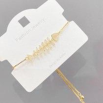 Micro Inlaid Zircon Personalized Creative Fishbone Fashion Bracelet Adjustable Korean Simple Bracelet Jewelry