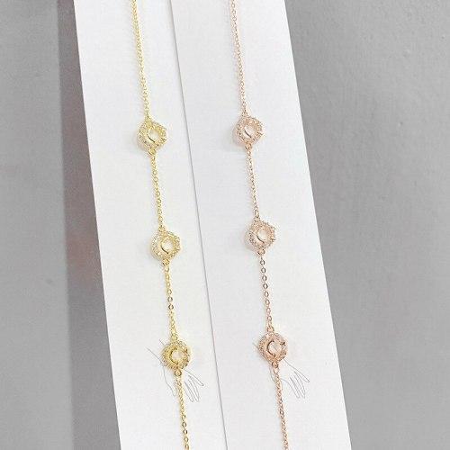 Electroplated Real Gold Micro-Inlaid Full Diamond Smiley Bracelet Special-Interest Design Ins Style Bracelet Bracelet