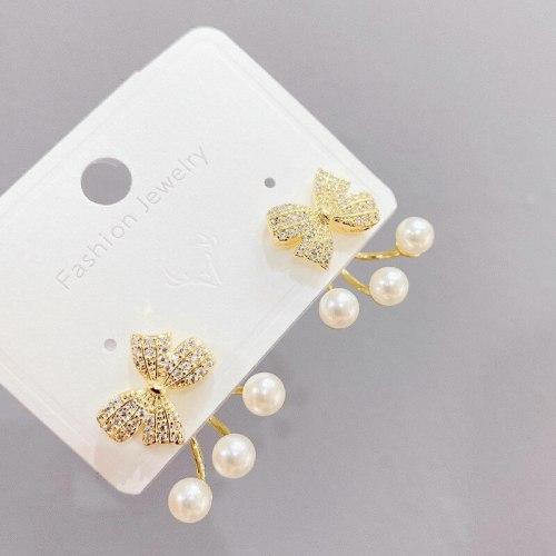 Earrings High-Grade round Face Bow Pearl Eardrops Earrings Sterling Silver Needle Korean Stud Earrings Women