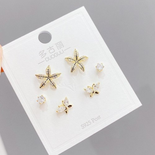 Sterling Silver Needle Micro Inlaid Zircon Starfish Three-Piece Earrings One Card Three Pairs Combination Earrings