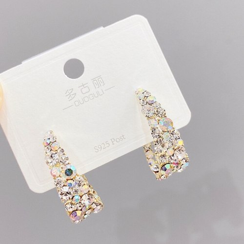 Sterling Silver Needle Vintage Colorful Crystal Stud Earrings for Women C- Shaped Earrings Earrings