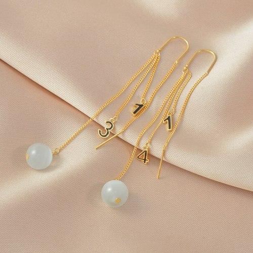 Gold-Plated S925 Needle Korean Alphabet Letter Earrings Diamond Stud Earrings Long Fringe Earrings