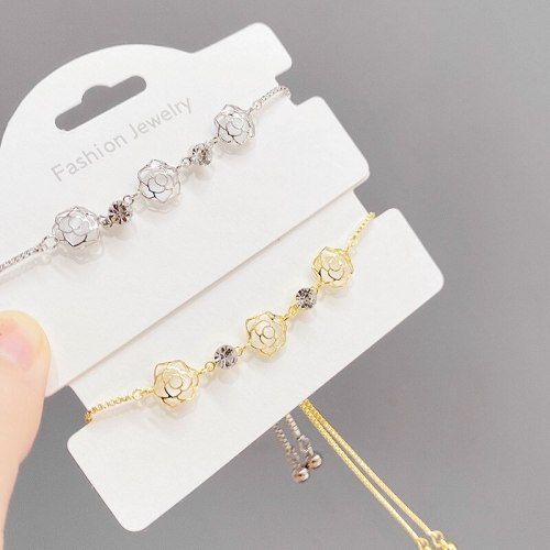New Gold-Plated Hollow-out Petals Bracelet Women's Adjustable Pull Bracelet Micro Inlaid Zircon Bracelet Fashion