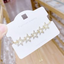 New Micro-Inlaid 3A Zircon Pull Bracelet Five-Pointed Star Design Bracelet Wholesale
