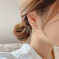 Korean Style Gold-Plated Earrings Long Tassel 3A Zircon Earrings Personalized Earrings Sterling Silver Needle