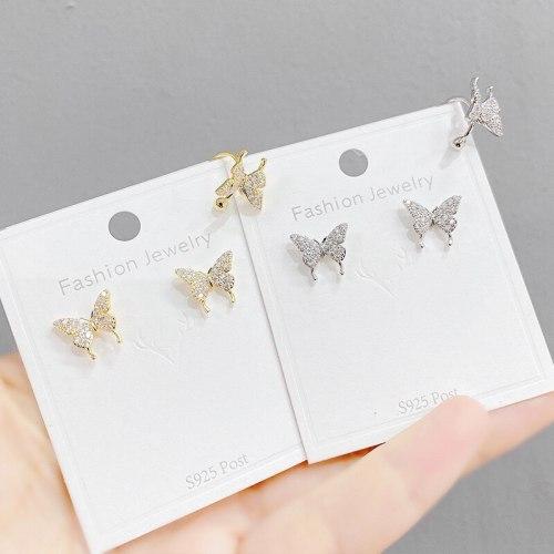 Korean Stud Earrings Ear Clip Butterfly Full-Jeweled Stud Earrings 925 Silver Needle All-Match Butterfly Ear Clip