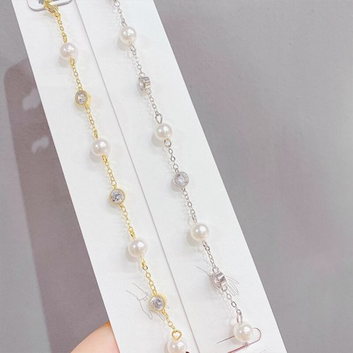 14K Real Gold Micro Inlaid Zircon Bracelet Ins Style French Freshwater Pearl Bracelet Temperament Bracelet Hand Jewelry