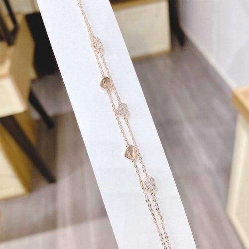 Gold Plated Red Heart Love Heart Bracelet Female Ins Special-Interest Design Bracelet Fresh Korean Style Bracelet Fashion