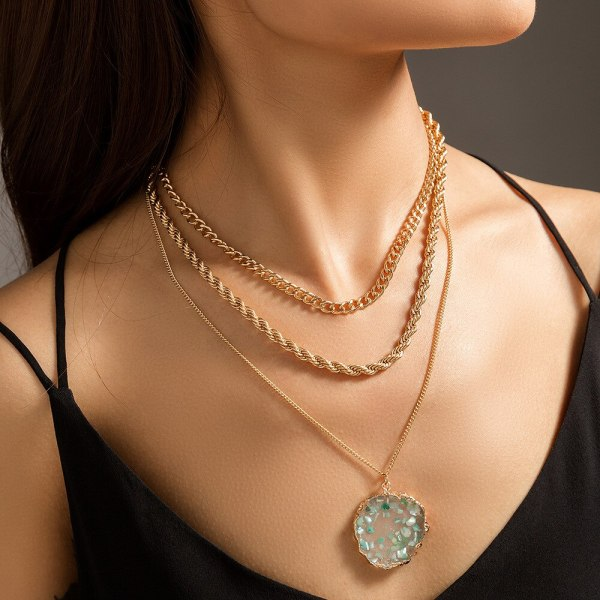 European Metal Texture Hemp Flowers Chain Necklace Simple Multi-Layer Green Shell Natural Stone Imitated round Necklace