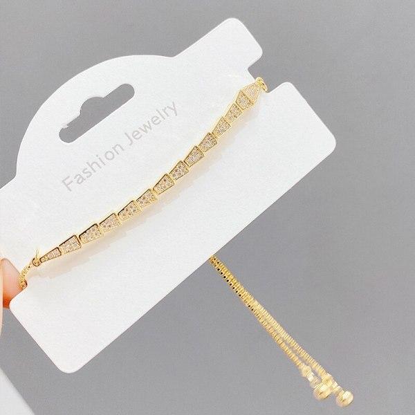 New Micro-Inlaid Full Diamond Pull Bracelet Women's Korean Fashion Snake Bone Bracelet Hand Jewelry