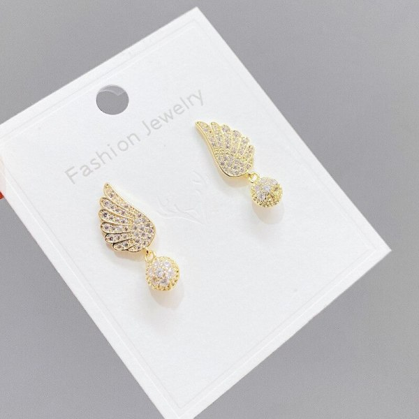 Sterling Silver Needle Anti-Allergy Wing Stud Earrings for Women Simple Korean Fashion Accessories Small and Exquisite