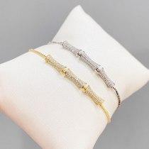 Korean Style Fashion Design Bamboo Bracelet Women's Adjustable Pull Bracelet Gold-Plated Micro-Inlaid Full Diamond Hand Jewelry