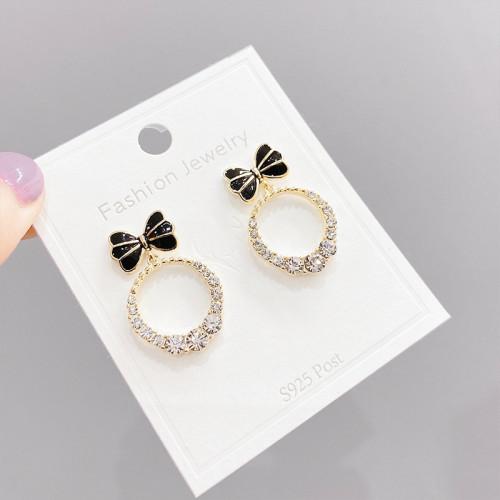 Sterling Silver Needle Korean Fashion Stud Earrings for Women Micro Inlaid Zircon round Ring Earrings Bow Eardrops Earrings