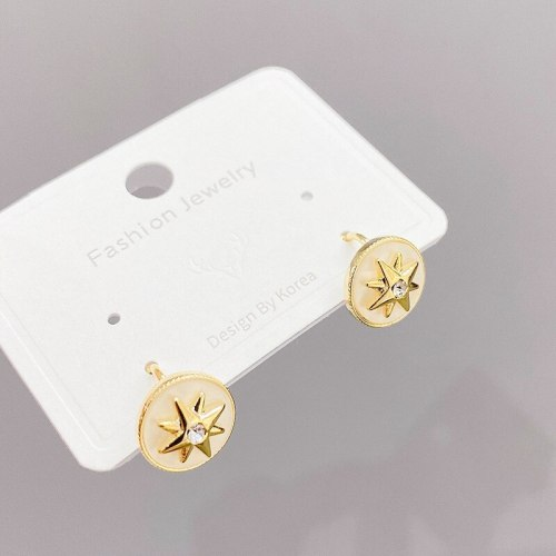 Eight Awn Star Compass Earrings for Women New Trendy Korean Graceful Online Influencer Earrings Simple and Compact Ear Clip