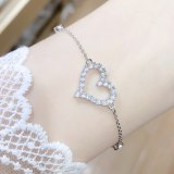Rhinestone Zircon Jewelry Peach Heart Japanese and Korean New Internet-Famous Gift Heart Bracelet Wholesale