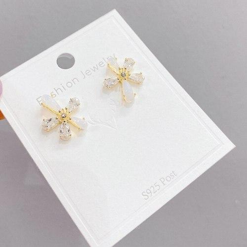 Korean Sterling Silver Needle Zircon Hollow Flower Earrings Petals Fresh All-Match Temperamental Stud Earrings