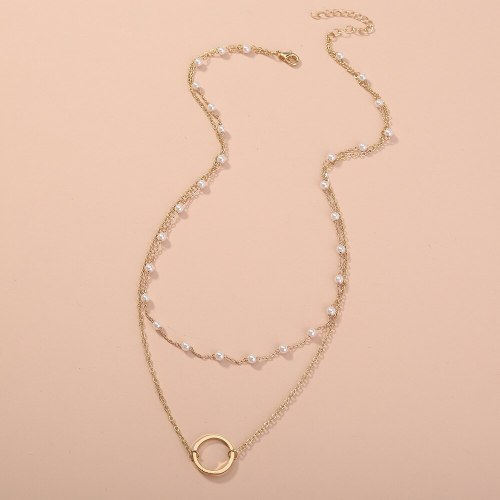 European and American Necklace Ornament Simple All-Match Multi-Layer Pearl Slim Chain round Pendant Multi-Layer Twin Necklace