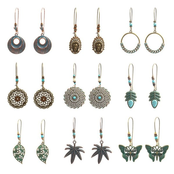 Popular Retro Large Earrings Set Combination Female Leaves Alloy Earring  set Original Cool Accessories