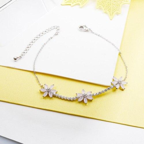 Hexapetalous Flowers Mori Style Zircon Bracelet Japanese and Korean New Internet Celebrity All-Match Jewelry Small Jewelry