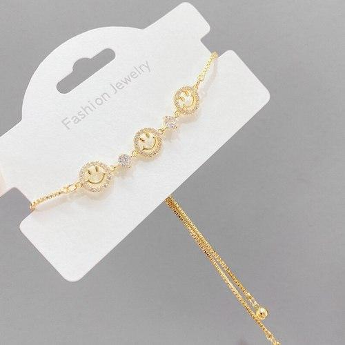 Women's Korean-Style Micro Inlaid Zircon Smiley Bracelet Niche Design Light Luxury Adjustable Bracelet
