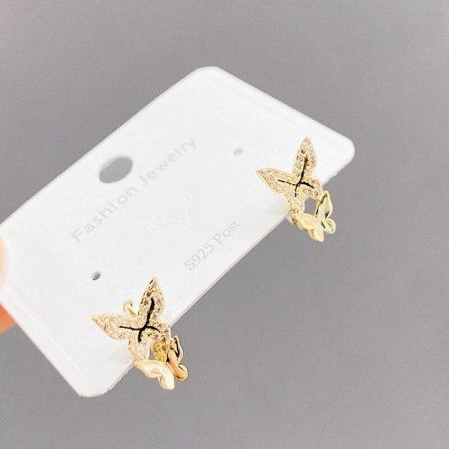 Hot Sale Fashion Korean Butterfly Zircon Stud Earrings Niche Design Ear Ring Ear Clips Earrings