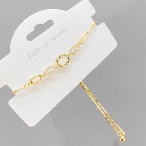 New Roman Digital Pull Bracelet Female Copper Plating Real Gold Bracelet Adjustable Hand Jewelry