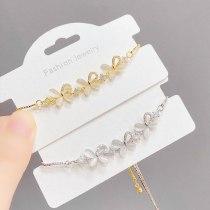 Women's Korean-Style Fashionable Opal Bow Pull Bracelet with Micro Inlaid Zircon Adjustable Bracelet