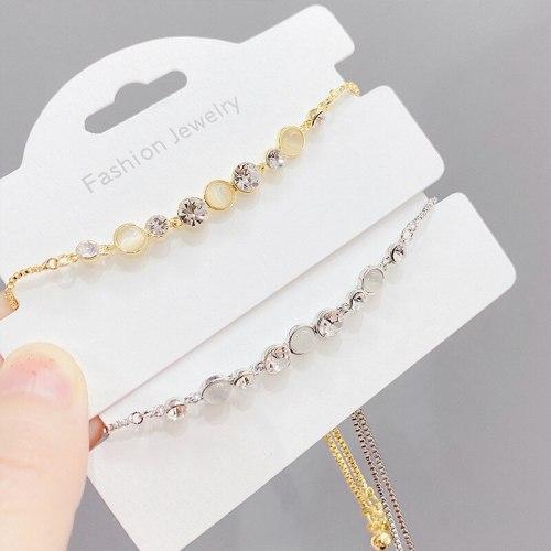 Korean Style Fashion Micro Inlaid Zircon Bracelet Women's Adjustable Pull Bracelet Personality Fashion Exquisite Opal Bracelet