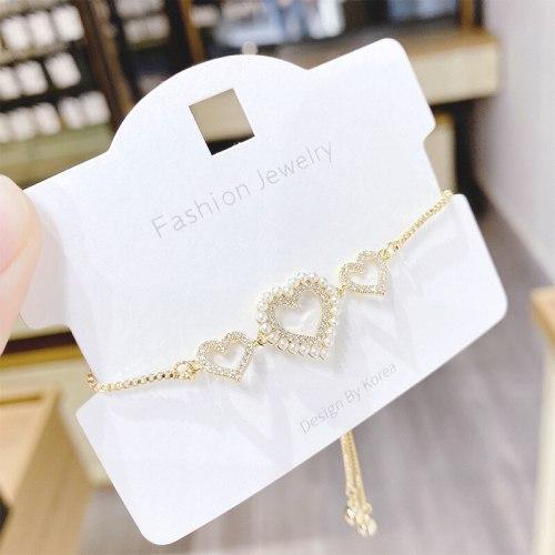 Korean Style Vintage Pearl Peach Heart Pendant Bracelet Girl Heart Ins Super Sweet Student Bracelet Hand Jewelry