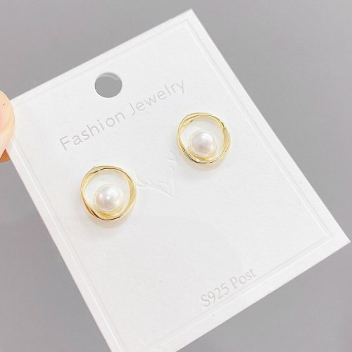 Sterling Silver Needle Simple Style French Style Retro Stud Earrings Pearl and Circle Earrings Graceful Earrings