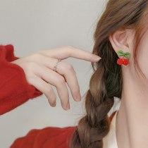 Sterling Silver Needle Cherry Wrapping Stud Earrings Trendy Sweet Earrings Women