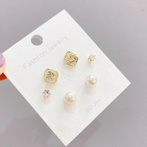Sterling Silver Needle Micro Inlaid Zircon Pearl Three-Piece Earrings One Card Three Pairs Combination Earrings