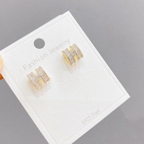 Sterling Silver Needle Korean Stud Earrings Personal Influencer Temperament Wild H Alphabet Letter Earrings Short Ornament
