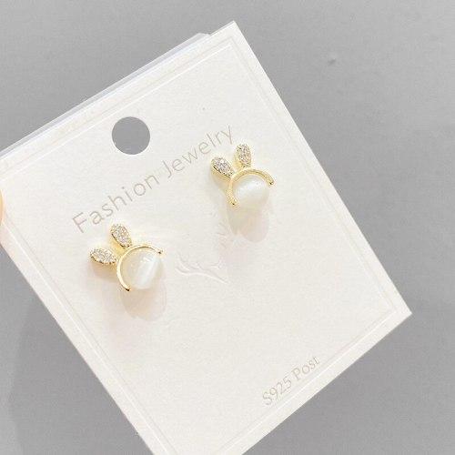 Cute Rabbit Opal Stone Ear Studs Women's Small and Simple Earrings Temperament Entry Lux Style Sterling Silver Needle Earrings