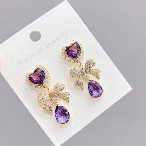 Sterling Silver Needle Micro-Inlaid Full Diamond Bow Stud Earrings Noble Elegant Purple Zircon Earrings Peach Heart Earrings