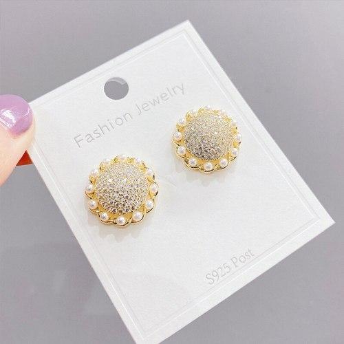 Sterling Silver Needle Exquisite Sunflower Stud Earrings Summer Daisy Zircon Temperament Flower Pearl Earrings Female