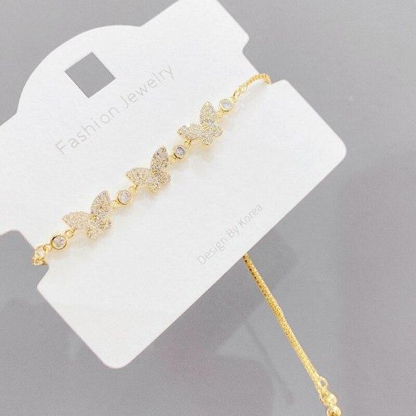 Copper Micro Inlaid Zircon Bracelet Korean Fashion Pull Bracelet Special-Interest Design Butterfly Bracelet Ornament