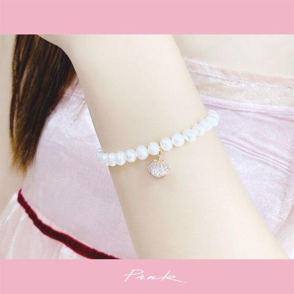 Freshwater Pearl Micro Inlaid Zircon Shell Bracelet Wrist Ring Ins Fashion Simple Bracelet for Women