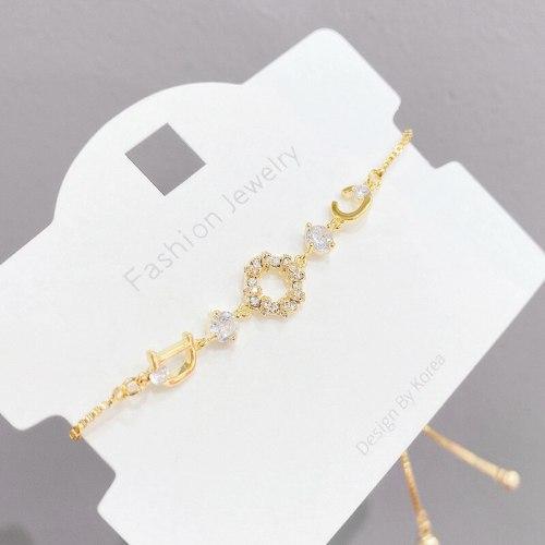 Korean Style Micro-Inlaid 3A Zircon Bracelet Female Shell Letter Adjustable Pull Bracelet Bracelet