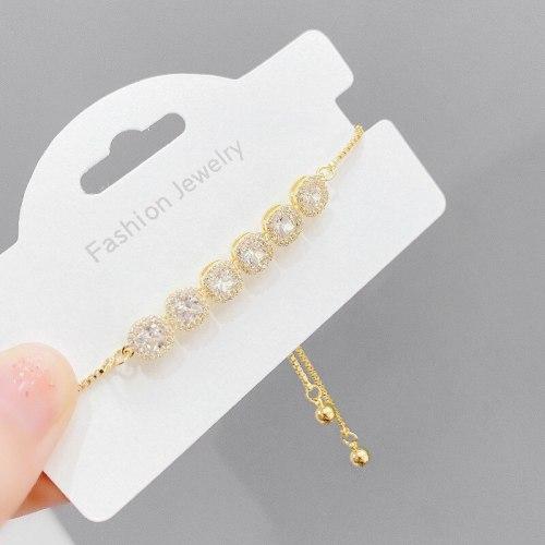 Fashion Micro Inlaid Zircon Pull Bracelet Female Korean Elegant Zircon Super Flash All-Matching Tassel Bracelet Wrist String