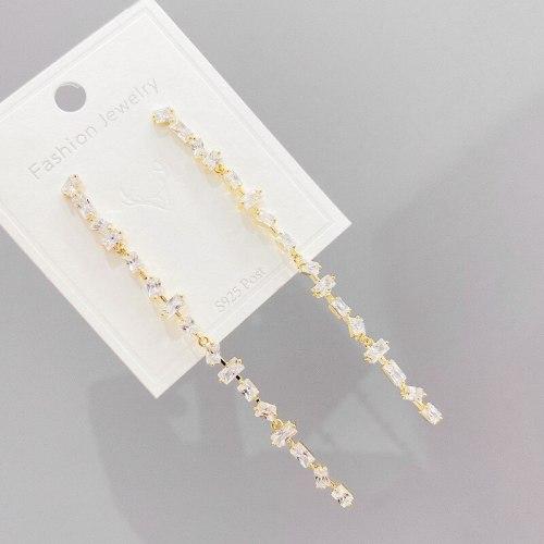 Sterling Silver Needle Refined Zircon Tassel Earrings for Women New Trendy Earrings Ear Studs