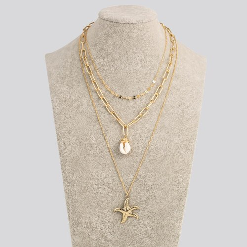 European and American Ocean Style Necklace Fashion Personality Beach Shell Multi-Layer Necklace Metal Starfish Pendant Jewelry